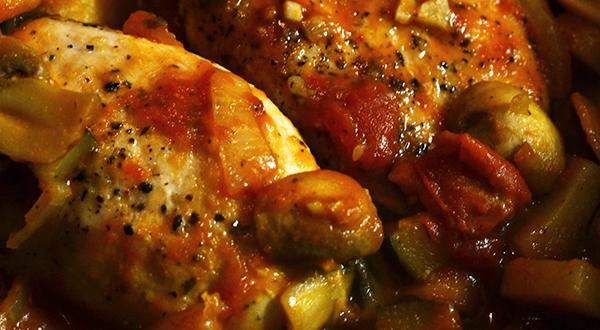 Italiaanse kip/groenteschotel
