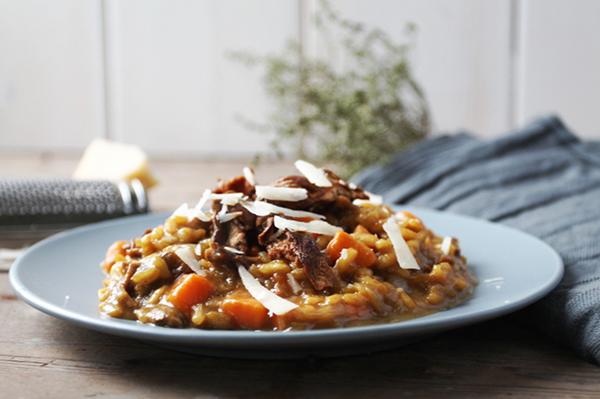 risotto met saffraan en zoete aardappel