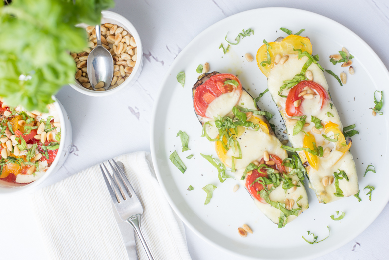 Gegrilde Caprese courgettes