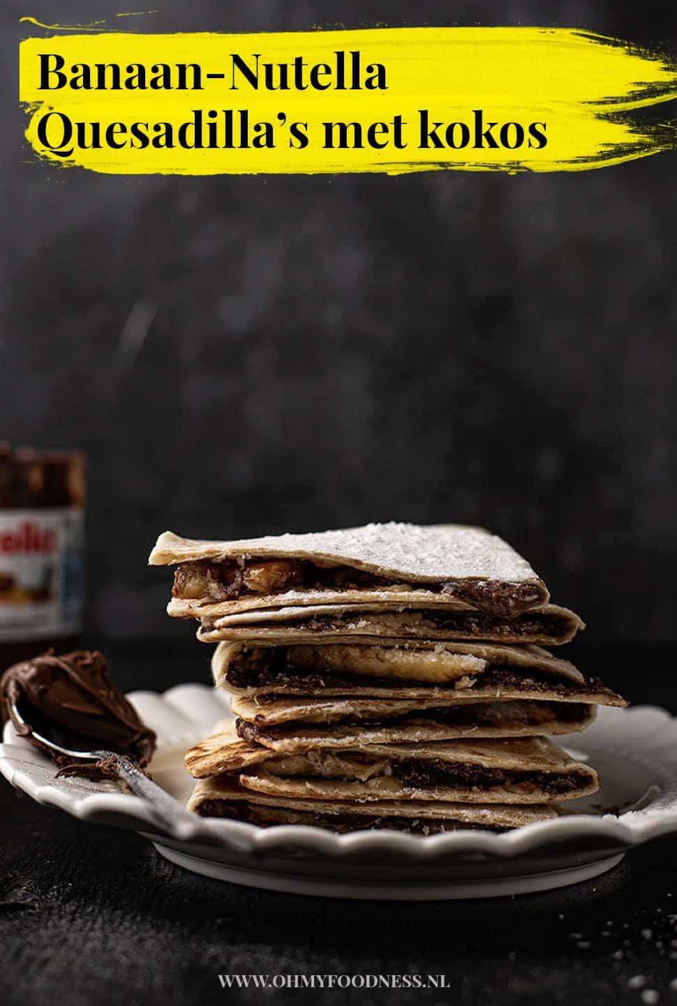 Banaan-Nutella Quesadilla's met kokos