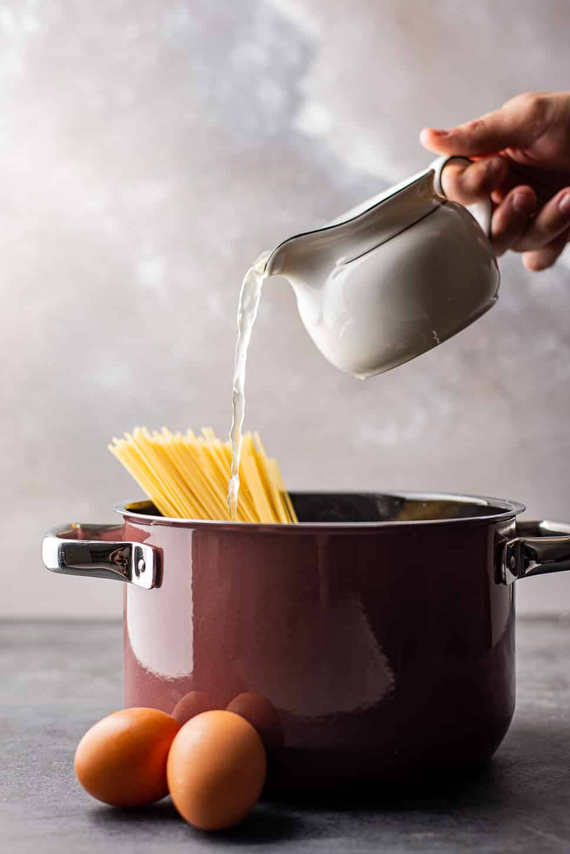 One pot pasta carbonara met chorizo