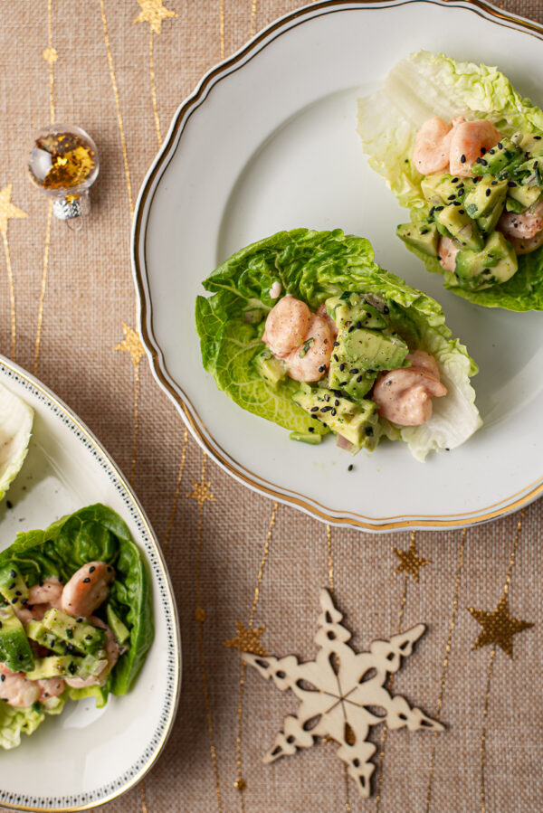 Slabootjes met garnalencocktail en avocadosalsa