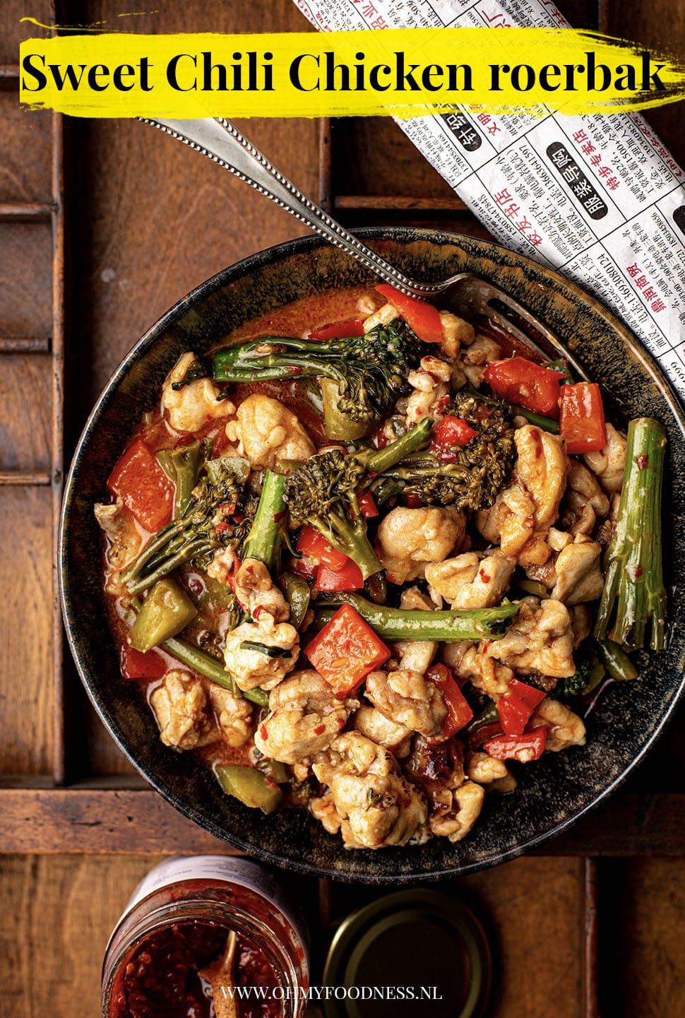 Zoete chili kip roerbak