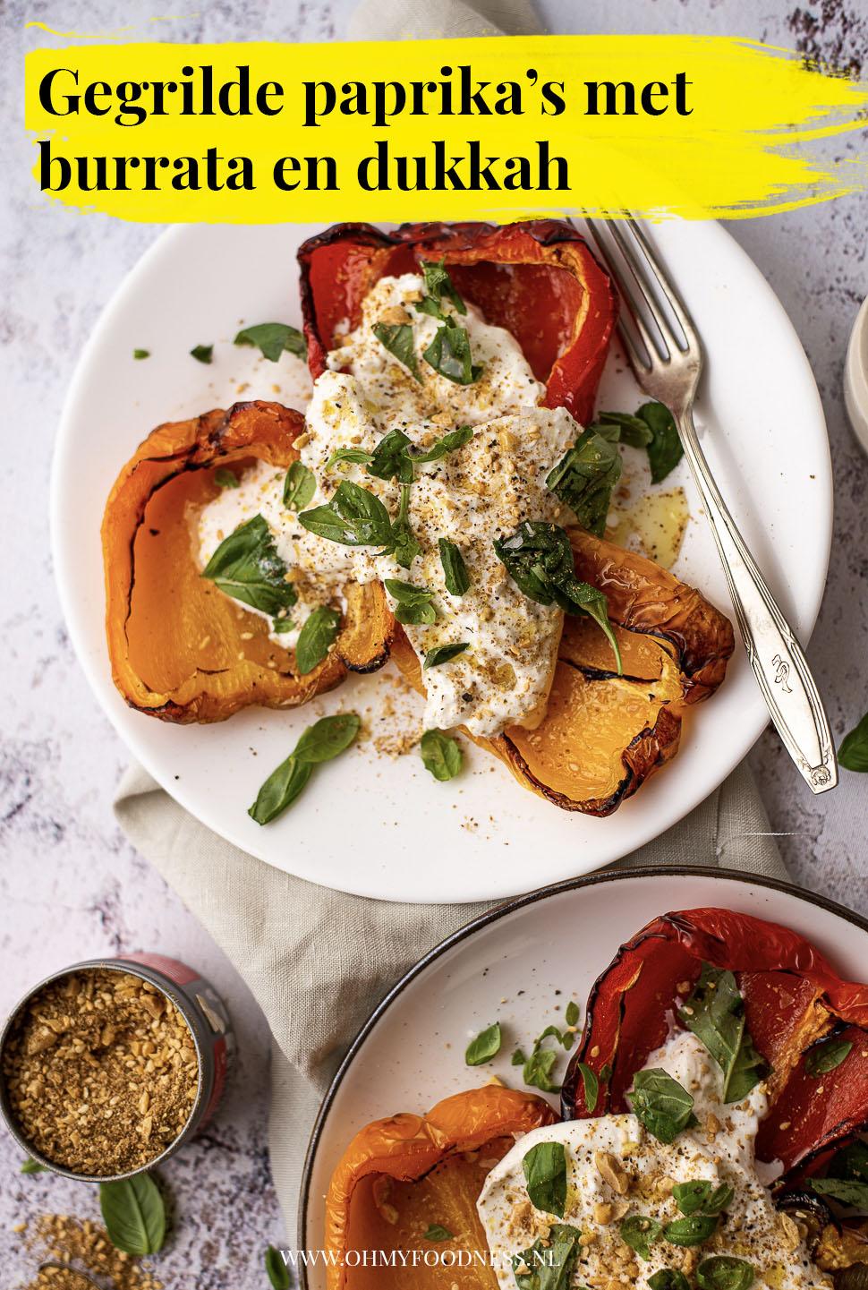 Gegrilde paprika's met burrata en dukkah