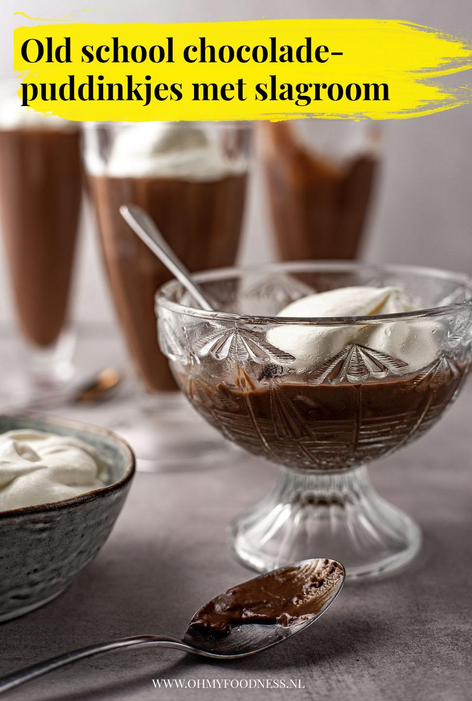 Old school chocoladepuddinkjes met slagroom