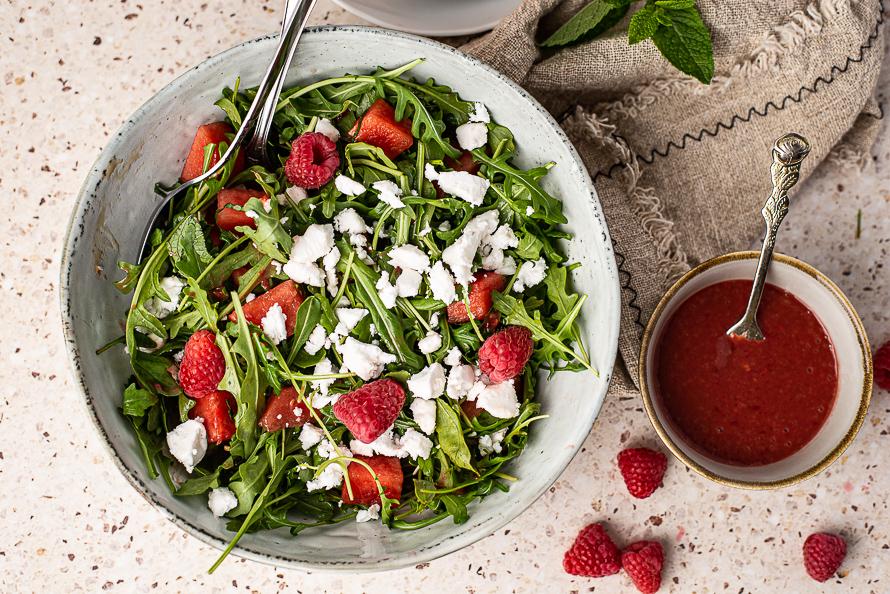 Watermeloensalade met frambozenvinaigrette