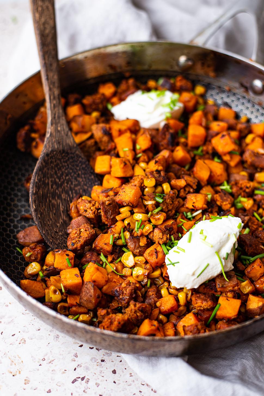 Zoete aardappel chorizo pannetje