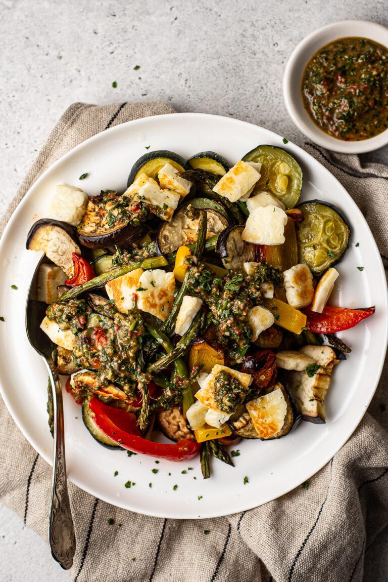 gegrilde groenten met halloumi en chimichurri