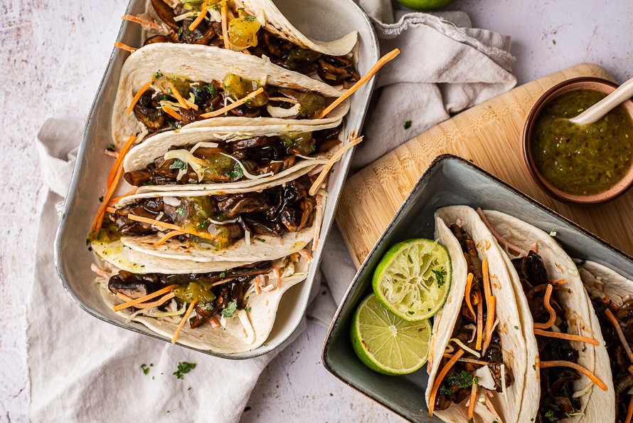 soft taco's met pulled portobello