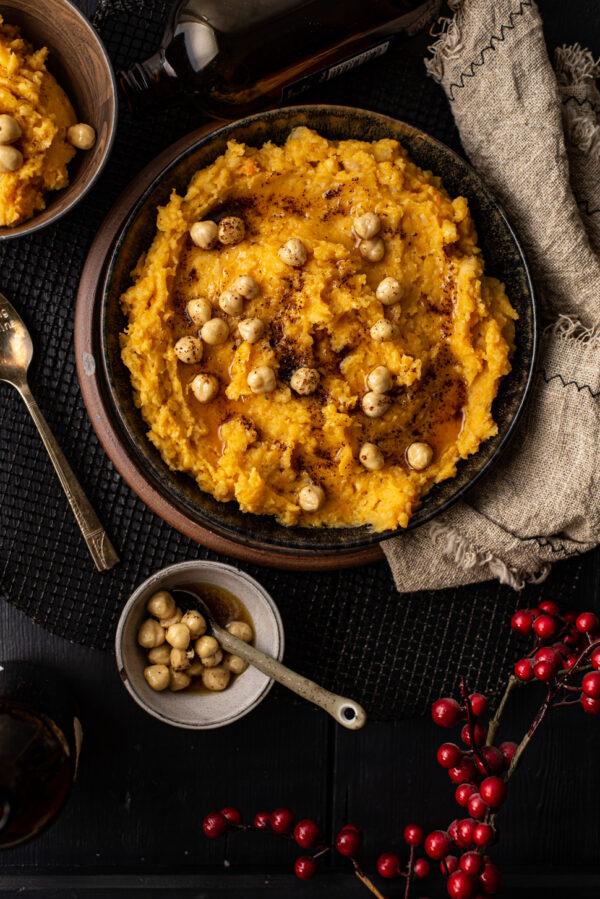 pompoenpuree met hazelnoten en bruine boter